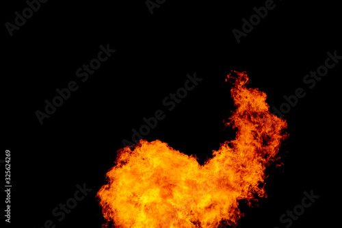 Photo Yellow red and orange fire flames blazing fiery burning isolated on a black back