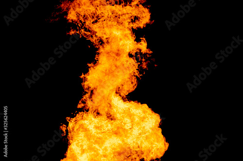 Yellow red and orange fire flames blazing fiery burning isolated on a black back Tapéta, Fotótapéta
