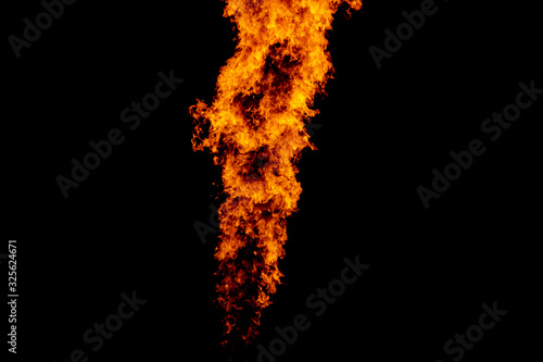 Yellow red and orange fire flames blazing fiery burning isolated on a black back Canvas Print