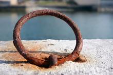Old, Rusty Iron Mooring Ring O...