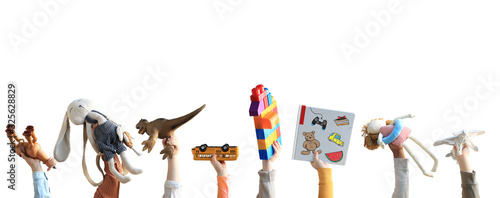 Children holding toys, concept of the childhood