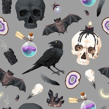Seamless Pattern With Raven And Human Skull