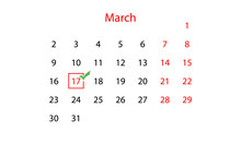 Calendar March 17, 2020. St.Patrick 's Day. Marked With A Green Check Mark. Vector Illustration.