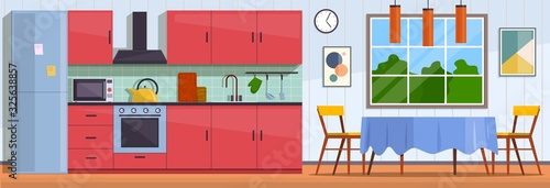 Kitchen. Interior with furniture, stove and cupboard. Fridge and table with chairs, kitchen appliances culinary decor flat vector design