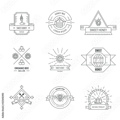 Fotografia Apiculture linear hipster logo vector templates set