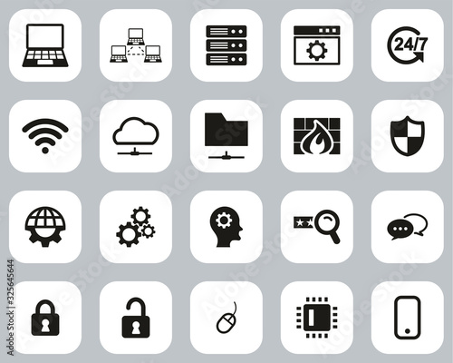 System Administrator Icons Black & White Flat Design Set Big Canvas Print