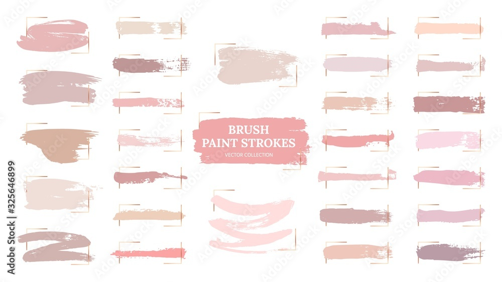 Pastel brush strokes. Creative spots, gold frames and pink palette samples. Fashion makeup blush swatches. Beautiful rose grunge paint vector collection. Illustration pastel texture, watercolor brush <span>plik: #325646899 | autor: MicroOne</span>