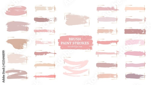 Obraz Pastel brush strokes. Creative spots, gold frames and pink palette samples. Fashion makeup blush swatches. Beautiful rose grunge paint vector collection. Illustration pastel texture, watercolor brush - fototapety do salonu