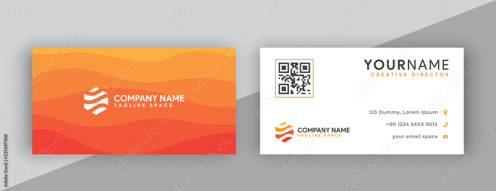 Fototapeta business cards design, orange business card template . editable business card vector . modern wavy style business card orange color