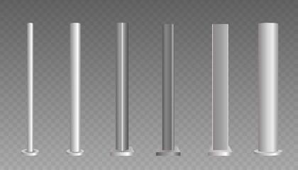 Metal column. Metal pole.