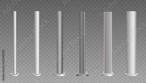 Metal column. Metal pole.  - fototapety na wymiar