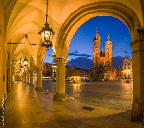 Fototapeta view of the beautiful Krakow old town in the evening obraz na płótnie