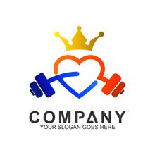 Love Fitness Logo, King Gym Logo