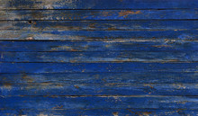 Blue Wall Of Old Boards With Peeling Paint