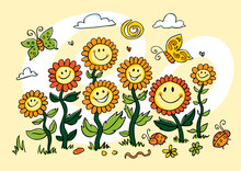 Vector Yellow Colourful Cartoon Sunflowers Illustration. Suitable For Greeting Cards And Wall Murals.