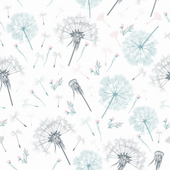 Fototapeta Do Spa Elegant simple vector pattern with dandelions