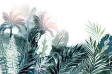 Tropical Vector Background Or Wallpaper Poster With Palm Treed And Green Leaves, Watercolor Realistic Style