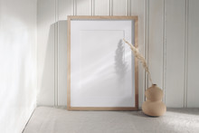 Portrait Empty Wooden Frame Mo...