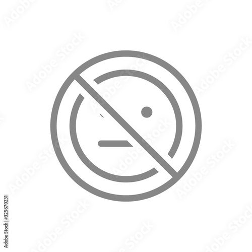 Forbidden sign with a expressionless emoji line icon Fototapet