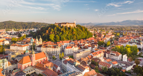Aerial panoramic view of Ljubljana, capital of Slovenia in warm afternoon sun Fototapete