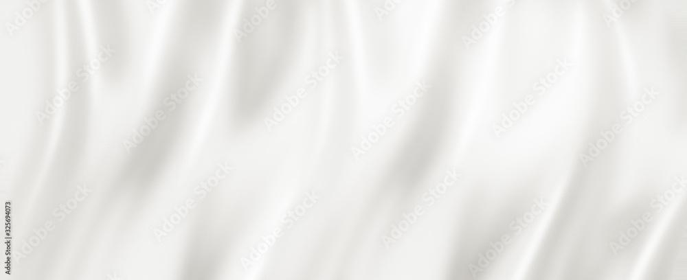 Fototapeta White silk background texture. 3D illustration banner