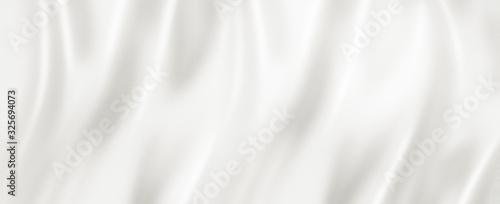 Vászonkép White silk background texture. 3D illustration banner