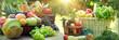 Leinwandbild Motiv Healthy food, healthy eating, vegetarian food, a vegetarian diet consists of organic fruits and vegetables