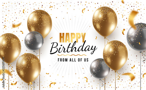 Fotomural Vector happy birthday horizontal illustration with 3d realistic golden and silver air balloon on white background with text and glitter confetti