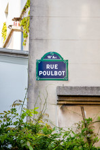 Rue Poulbot Street Sign, Paris, France