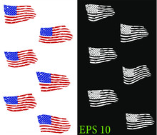 USA Flag - Distressed American Flag, Set Usa Flags. EPS 10, Clip Art,