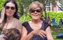 Happy Elderly Grandmother With Daughter And Grand Daughter Enjoying City Park In Summer Season