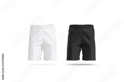 Obraz Blank black and white soccer shorts mockup set, front view - fototapety do salonu