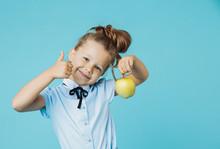 Cute Girl Holding Green Apple ...