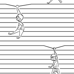 wallpaper lines with hanging figures