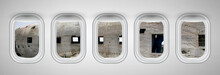 Airplane Windows With Aircraft...