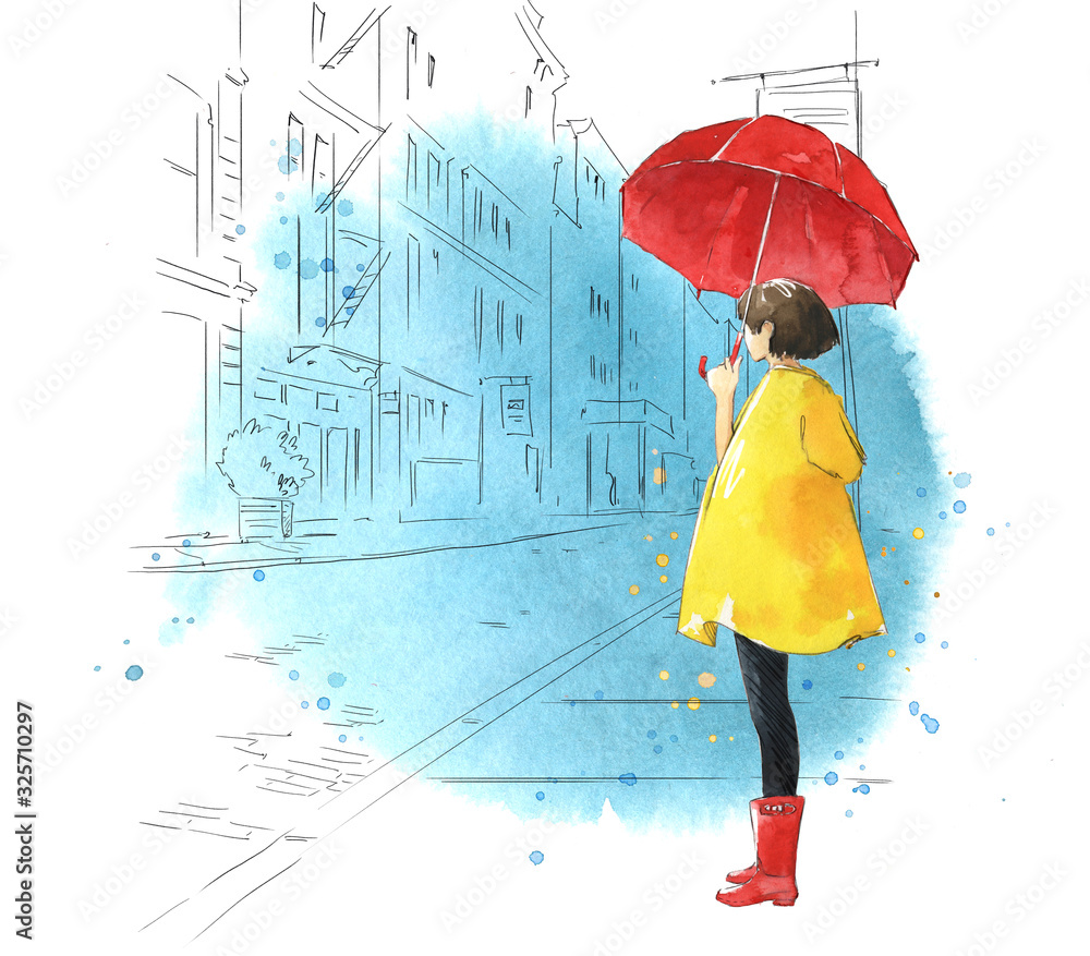 watercolor illustration of a young girl with umbrella  with a city scape on a background