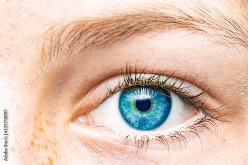 Obraz Nahaufnahme eines weiblichen Auges mit blauer Iris - fototapety do salonu