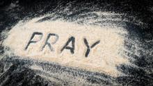 Flat Lay Of Word PRAY Written On White Sand
