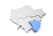 Greater London Map Showing Bromley Borough In Blue. 3D Rendering