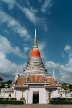Phra Samut Chedi, With Blue Skies In Pak Nam, Samut Prakan, Thailand.