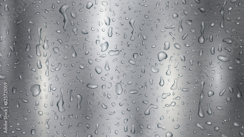 Fotomural Background with drops and streaks of water in gray colors, flowing down the meta
