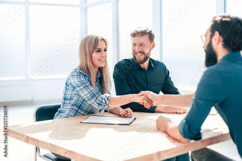 business people shaking hands at a meeting in the office. Canvas Print