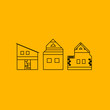 DESIGN HOMES LINE ART ON YELLOW BACKGROUND