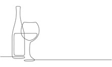 Wine Glass And Bottle Of Wine. Vector. Continuous Line Drawing