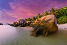 Sunset Over Famous Seychelles Beach