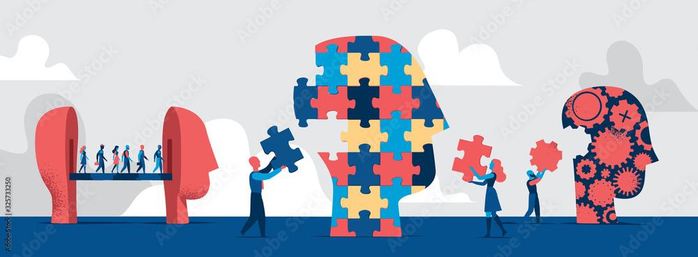 Fototapeta Forme diverse di teste umane. La gente comporre la testa fatta a puzzle con pezzi mancanti. Concetto di identità delle persone - Illustrazione vettoriale