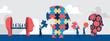 Forme diverse di teste umane. La gente comporre la testa fatta a puzzle con pezzi mancanti. Concetto di identità delle persone - Illustrazione vettoriale