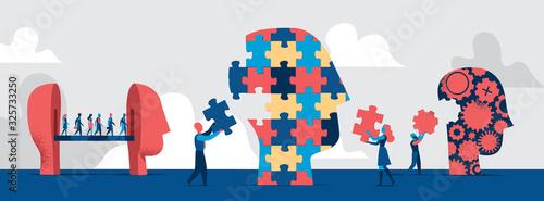 Fototapeta Forme diverse di teste umane. La gente comporre la testa fatta a puzzle con pezzi mancanti. Concetto di identità delle persone - Illustrazione vettoriale obraz