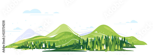 Obraz Green mountains with spruce forest around, nature tourism landscape illustration isolated, sample creative panorama of mountains - fototapety do salonu