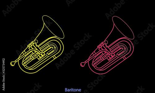 Photo Outline baritone ensemble on a black background